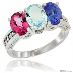 14K White Gold Natural Pink Topaz, Aquamarine & Tanzanite Ring 3-Stone 7x5 mm Oval Diamond Accent