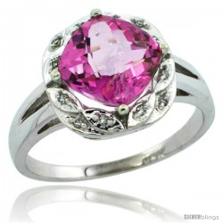 14k White Gold Diamond Halo Pink Topaz Ring 2.7 ct Checkerboard Cut Cushion Shape 8 mm, 1/2 in wide