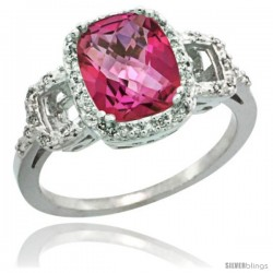 14k White Gold Diamond Pink Topaz Ring 2 ct Checkerboard Cut Cushion Shape 9x7 mm, 1/2 in wide