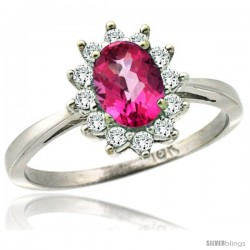 14k White Gold Diamond Halo Pink Topaz Ring 0.85 ct Oval Stone 7x5 mm, 1/2 in wide