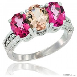 14K White Gold Natural Morganite & Pink Topaz Sides Ring 3-Stone 7x5 mm Oval Diamond Accent