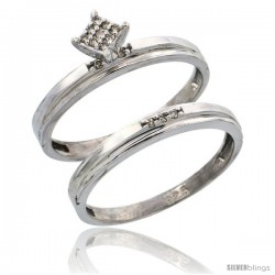 Sterling Silver Ladies' 2-Piece Diamond Engagement Wedding Ring Set Rhodium finish, 1/8 in wide -Style Ag006e2