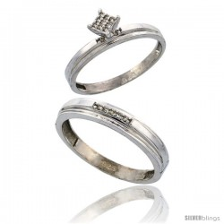 Sterling Silver 2-Piece Diamond wedding Engagement Ring Set for Him & Her Rhodium finish, 3mm & 4mm wide