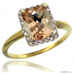 14k Yellow Gold Diamond Morganite Ring 1.6 ct Emerald Shape 8x6 mm, 1/2 in wide