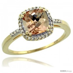 14k Yellow Gold Diamond Morganite Ring 1.5 ct Checkerboard Cut Cushion Shape 7 mm, 3/8 in wide