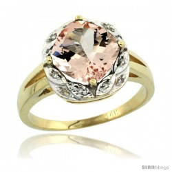 14k Yellow Gold Diamond Halo Morganite Ring 2.7 ct Checkerboard Cut Cushion Shape 8 mm, 1/2 in wide