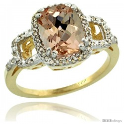 14k Yellow Gold Diamond Morganite Ring 2 ct Checkerboard Cut Cushion Shape 9x7 mm, 1/2 in wide