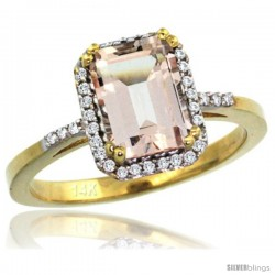 14k Yellow Gold Diamond Morganite Ring 1.6 ct Emerald Shape 8x6 mm, 1/2 in wide -Style Cy413129