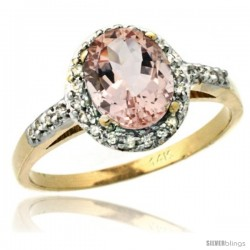 14k Yellow Gold Diamond Morganite Ring Oval Stone 8x6 mm 1.17 ct 3/8 in wide