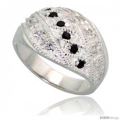 Sterling Silver Dome Ring, High Quality Black & White CZ Stones, 1/2 in (11 mm) wide