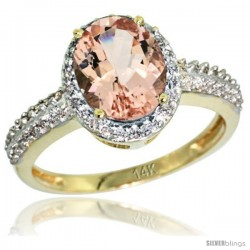 14k Yellow Gold Diamond Morganite Ring Oval Stone 9x7 mm 1.76 ct 1/2 in wide