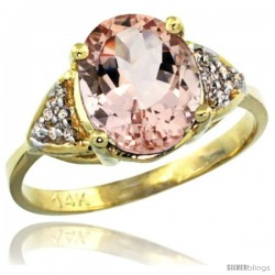 14k Yellow Gold Diamond Morganite Ring 2.40 ct Oval 10x8 Stone 3/8 in wide