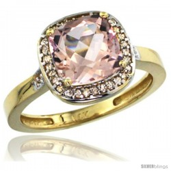 14k Yellow Gold Diamond Morganite Ring 2.08 ct Checkerboard Cushion 8mm Stone 1/2.08 in wide