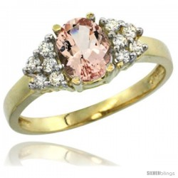 14k Yellow Gold Ladies Natural Morganite Ring oval 8x6 Stone Diamond Accent