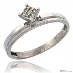 Sterling Silver Diamond Engagement Ring Rhodium finish, 1/8 in wide -Style Ag006er