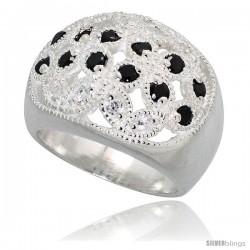 Sterling Silver Dome Ring, Floral Designs of High Quality Black & White CZ Stones, 5/8 in (16 mm) wide