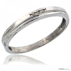 Sterling Silver Ladies' Diamond Wedding Band Rhodium finish, 1/8 in wide -Style Ag006lb
