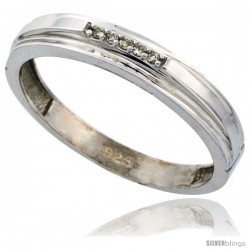 Sterling Silver Men's Diamond Wedding Band Rhodium finish, 5/32 in wide