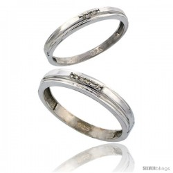 Sterling Silver Diamond 2 Piece Wedding Ring Set His 4mm & Hers 3mm Rhodium finish