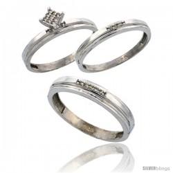 Sterling Silver Diamond Trio Wedding Ring Set His 4mm & Hers 3mm Rhodium finish