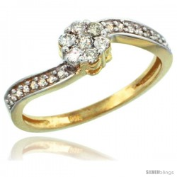 10k Gold Flower Cluster Diamond Engagement Ring w/ 0.28 Carat Brilliant Cut Diamonds, 1/4 in. (6mm) wide