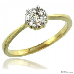 10k Gold Flower Cluster Diamond Engagement Ring w/ 0.26 Carat Brilliant Cut Diamonds, 1/4 in. (6mm) wide