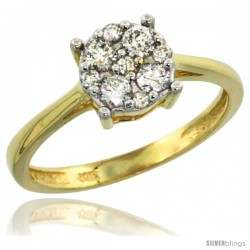 10k Gold Round Cluster Diamond Engagement Ring w/ 0.37 Carat Brilliant Cut Diamonds, 9/32 in. (7.5mm) wide