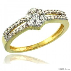 10k Gold Flower Cluster Diamond Engagement Ring w/ 0.37 Carat Brilliant Cut Diamonds, 1/4 in. (6.5mm) wide