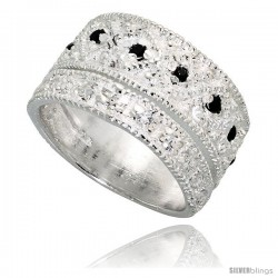Sterling Silver Band, High Quality Black & White CZ Stones, 1/2 in (11 mm) wide