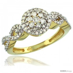 10k Gold Floral Cluster Diamond Engagement Ring w/ 0.54 Carat Brilliant Cut Diamonds, 3/8 in. (9.5mm) wide