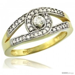 10k Gold Loop Knot Diamond Engagement Ring w/ 0.27 Carat Brilliant Cut Diamonds, 5/16 in. (8.5mm) wide