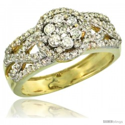 10k Gold Floral Cluster Diamond Engagement Ring w/ 0.69 Carat Brilliant Cut Diamonds, 3/8 in. (10mm) wide