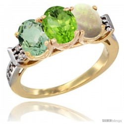10K Yellow Gold Natural Green Amethyst, Peridot & Opal Ring 3-Stone Oval 7x5 mm Diamond Accent