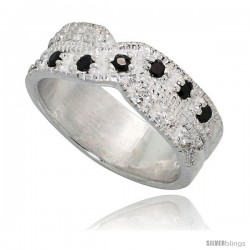 Sterling Silver Crisscross Ring, High Quality Black & White CZ Stones, 1/4 in (6 mm) wide