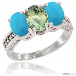 14K White Gold Natural Green Amethyst & Turquoise Sides Ring 3-Stone 7x5 mm Oval Diamond Accent