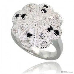 Sterling Silver Flower Ring, High Quality Black & White CZ Stones, 3/4 in (17 mm) wide