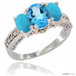 14k White Gold Ladies Oval Natural Swiss Blue Topaz 3-Stone Ring with Turquoise Sides Diamond Accent