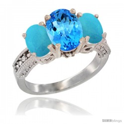 14K White Gold Ladies 3-Stone Oval Natural Swiss Blue Topaz Ring with Turquoise Sides Diamond Accent