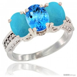 14K White Gold Natural Swiss Blue Topaz & Turquoise Sides Ring 3-Stone 7x5 mm Oval Diamond Accent