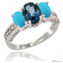 14k White Gold Ladies Oval Natural London Blue Topaz 3-Stone Ring with Turquoise Sides Diamond Accent
