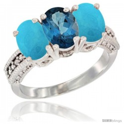 14K White Gold Natural London Blue Topaz & Turquoise Sides Ring 3-Stone 7x5 mm Oval Diamond Accent