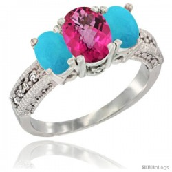 14k White Gold Ladies Oval Natural Pink Topaz 3-Stone Ring with Turquoise Sides Diamond Accent