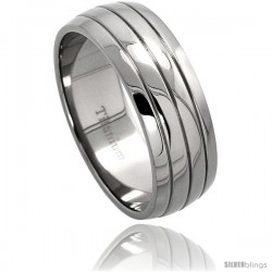Titanium 8mm Dome Wedding Band Ring 3 Grooves Comfort-fit