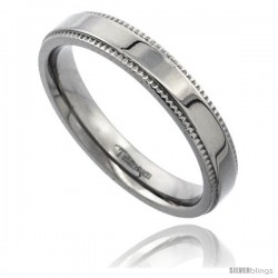 Titanium 4mm Flat Wedding Band Ring Millgrain Edges Highly Polished Comfort-fit