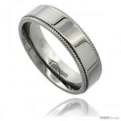 Titanium 6mm Flat Wedding Band Ring Millgrain Edges Highly Polished Comfort-fit