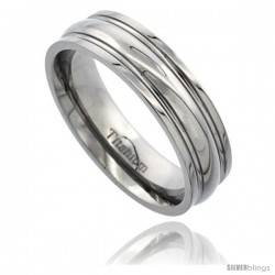 Titanium 6mm Wedding Band Ring Convexed Groove Highly Polished Comfort-fit
