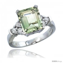 10K White Gold Natural Green Amethyst Ring Emerald-shape 9x7 Stone Diamond Accent