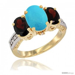 10K Yellow Gold Ladies 3-Stone Oval Natural Turquoise Ring with Garnet Sides Diamond Accent