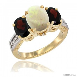 10K Yellow Gold Ladies 3-Stone Oval Natural Opal Ring with Garnet Sides Diamond Accent