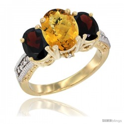 10K Yellow Gold Ladies 3-Stone Oval Natural Whisky Quartz Ring with Garnet Sides Diamond Accent